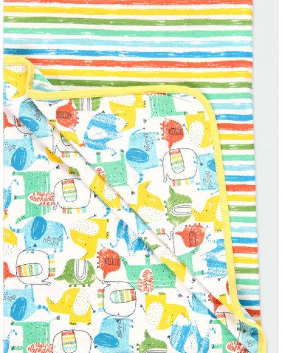 Одеяло - плед белое в многоцветный принт