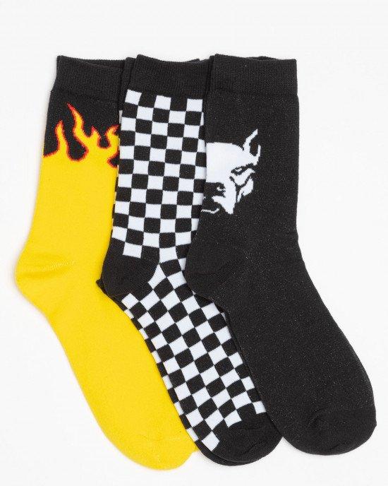 Носки (3 пары) в черно-желтый рисунок