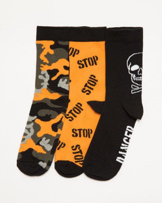 Носки (3 пары) черно-оранжевого цвета