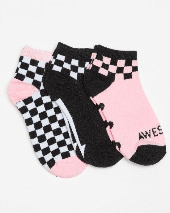 Носки (3 пары) в черно-розовый рисунок