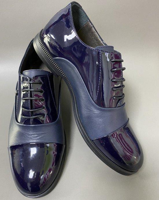 Туфли из натуральной кожи с лаковыми вставками