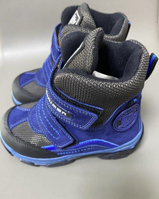 Ботинки высокие зимние с натуральным мехом на застежках - липучках