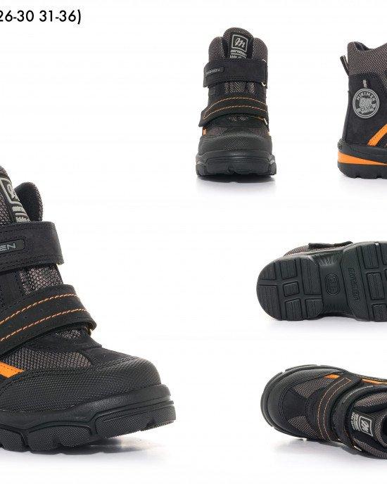 Ботинки высокие зимние на застежках - липучках с натуральным мехом