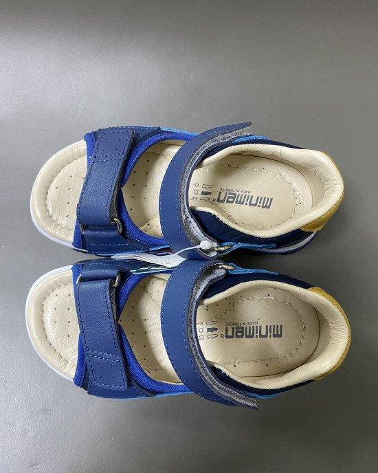 Сандалии ортопедические из натуральной кожи синего цвета