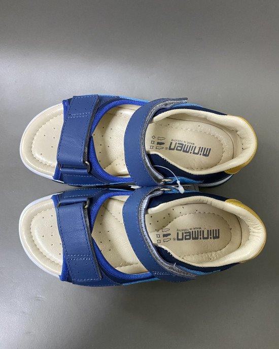 Сандалии ортопедические, синего цвета из натуральной кожи