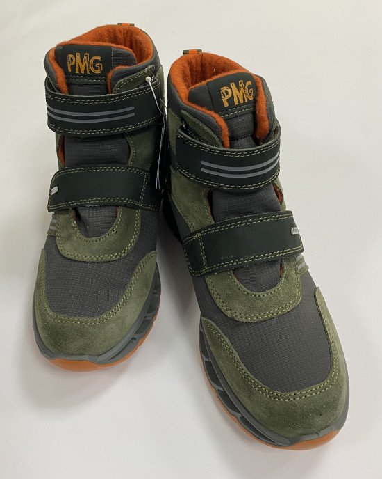 Ботинки высокие, утепленные серо - оливкового цвета