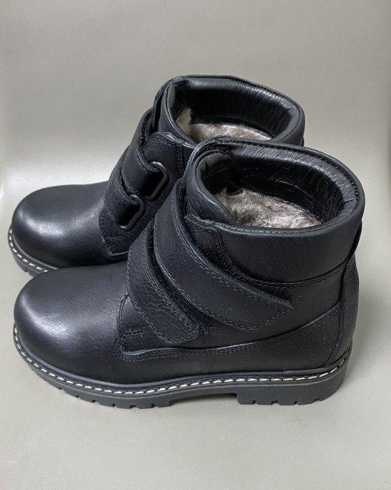 Ботинки из натуральной кожи внутри с натуральным мехом с застежками - липучками