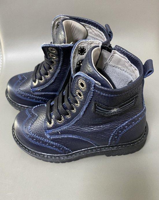 Ботинки высокие из натуральной кожи синего цвета