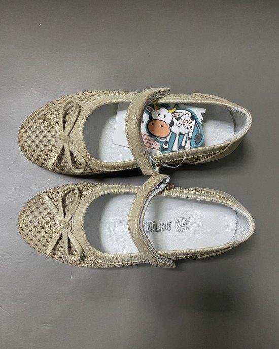 Туфли золотистого цвета из натуральной кожи