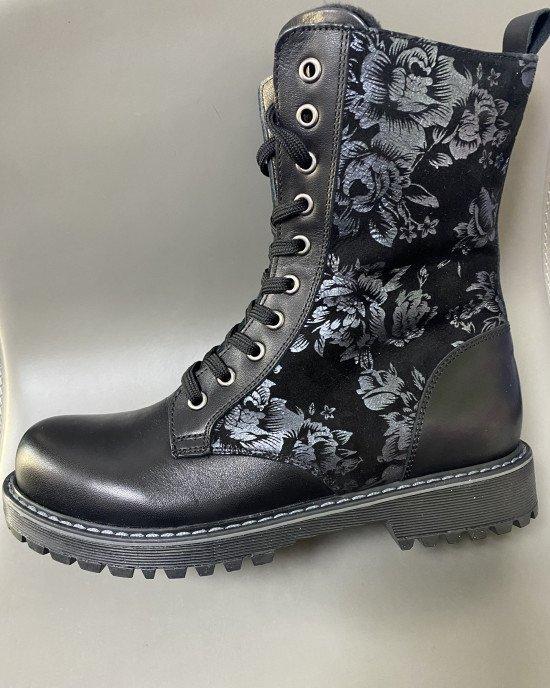 Ботинки высокие утепленные со шнуровкой и замком