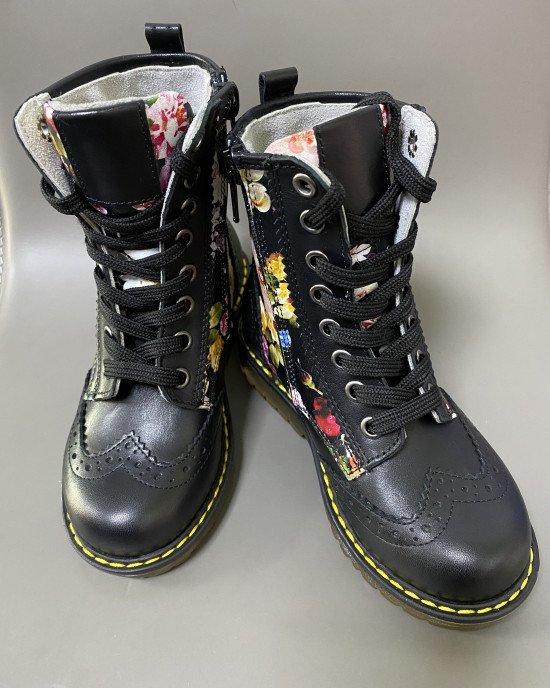 Ботинки высокие ортопедические черные в цветочный принт