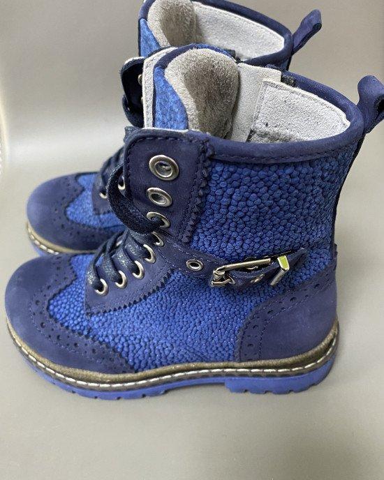 Ботинки высокие ортопедические синего цвета из натуральной кожи