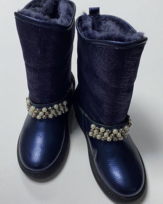 Сапоги из натуральной кожи с мехом синего цвета с декором