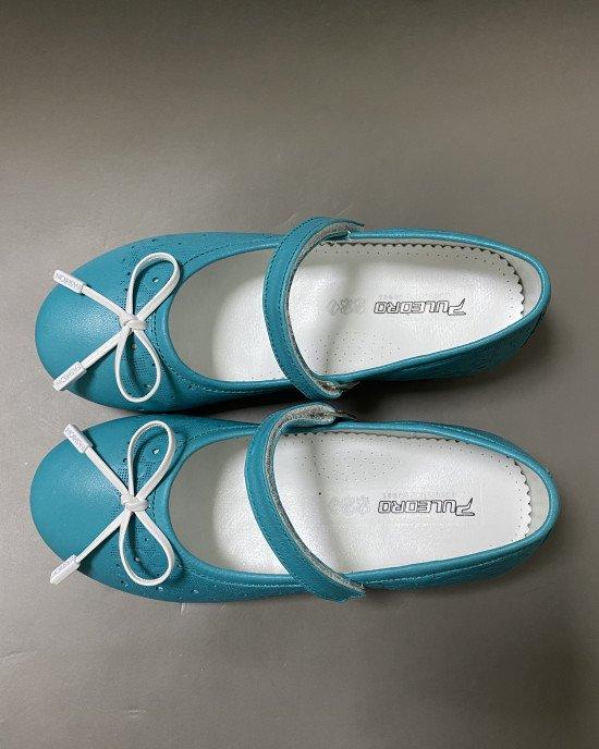 Туфли - балетки зеленые с ортопедической стелькой