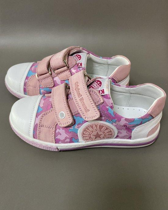 Кеды ортопедические на липучках розового цвета