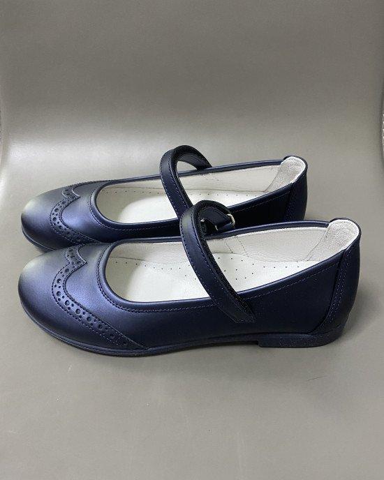 Туфли из натуральной матовой кожи синего цвета