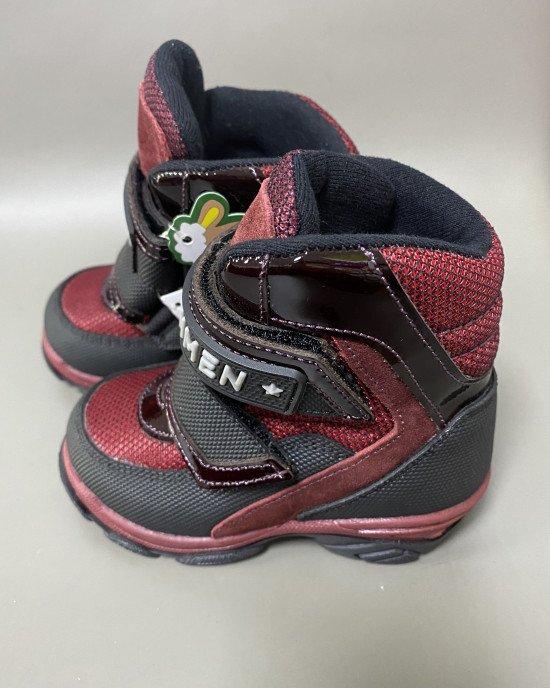 Ботинки высокие зимние с мехом на липучках