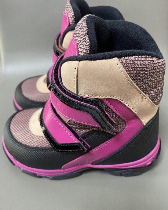 Ботинки зимние высокие с натуральным мехом на застежках - липучках