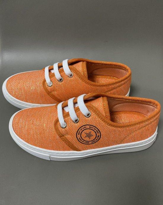 Кеды текстильные оранжевого цвета