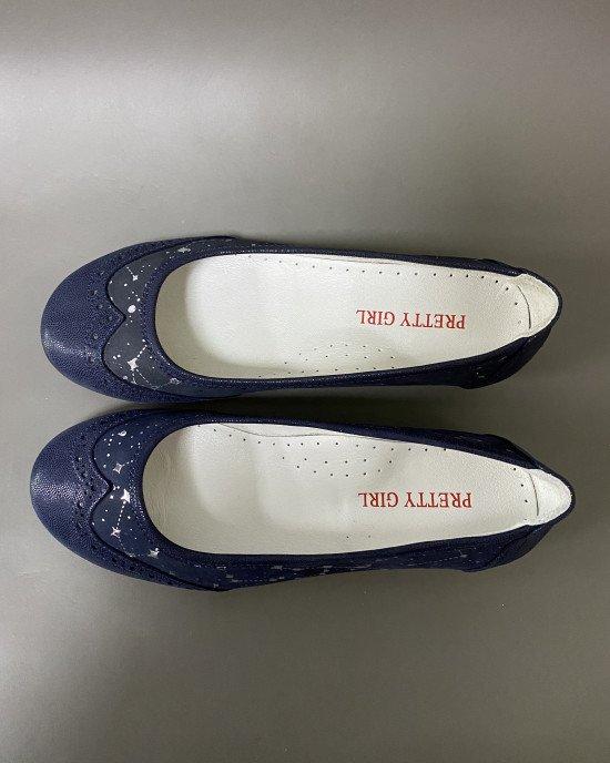 Туфли - балетки синего цвета ортопедические