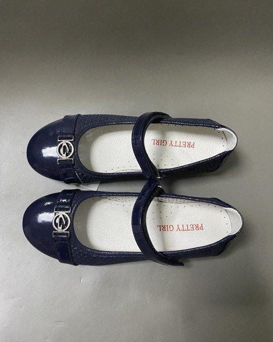 Туфли из натуральной лаковой кожи синего цвета