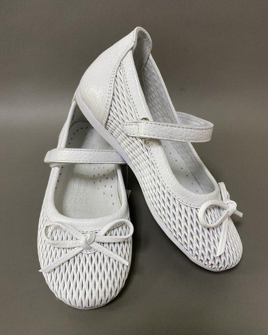 Туфли ортопедические из перфорированной кожи с бантиком
