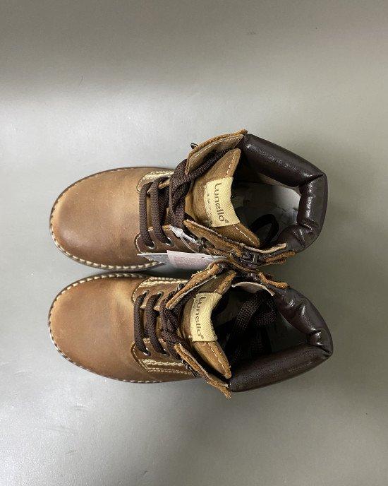 Ботинки на шнурках и замочке коричневого цвета