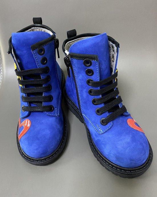 Ботинки ортопедические синего цвета с декоративными элементами