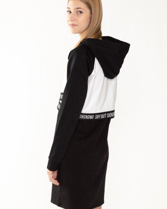 Платье черного цвета  + топ с капюшоном