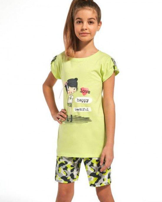 Пижама (футболка+шорты) зеленого цвета с принтом