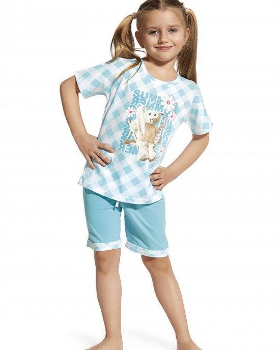 Пижама (футболка + шорты) нежно - голубого цвета с летним принтом