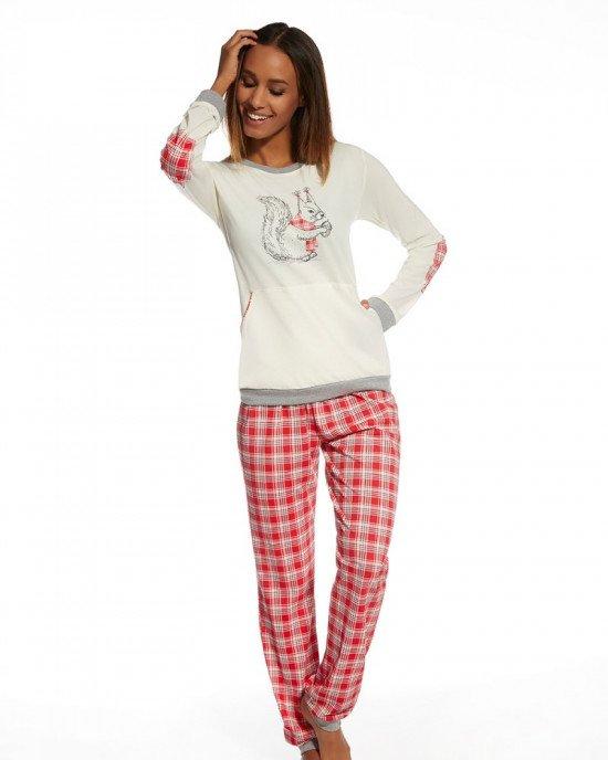 Пижама (реглан + брюки) бежево - красного цвета