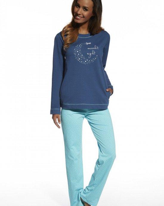Пижама (реглан + брюки) сине - голубого цвета в принт