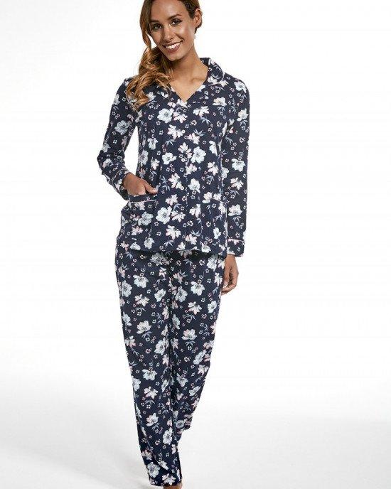 Пижама (рубашка + брюки) синего цвета в цветочный принт