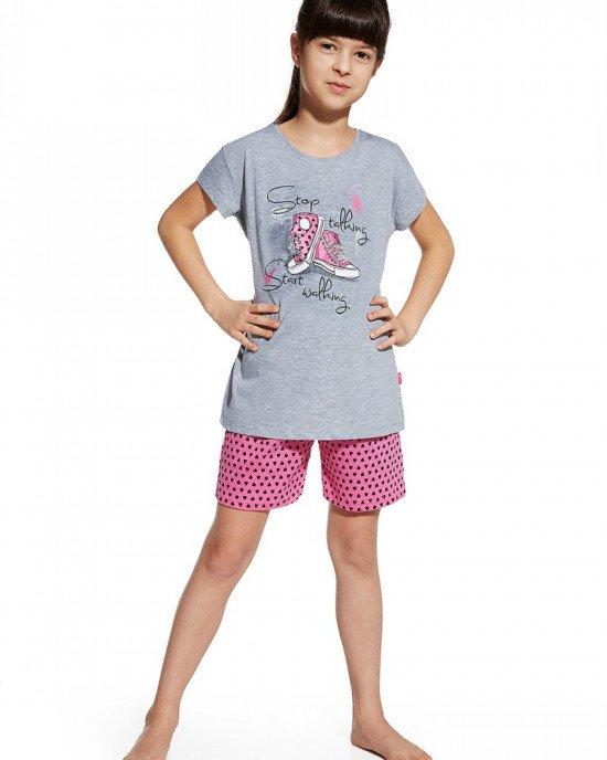 """Пижама (шорты + футболка) серого цвета с принтом """"кеды"""""""