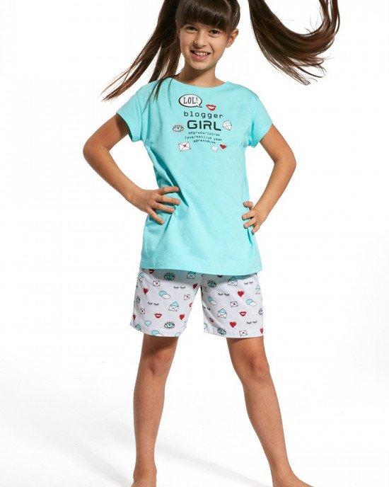 """Пижама (футболка + шорты) голубого цвета с принтом """"blogger girl"""""""