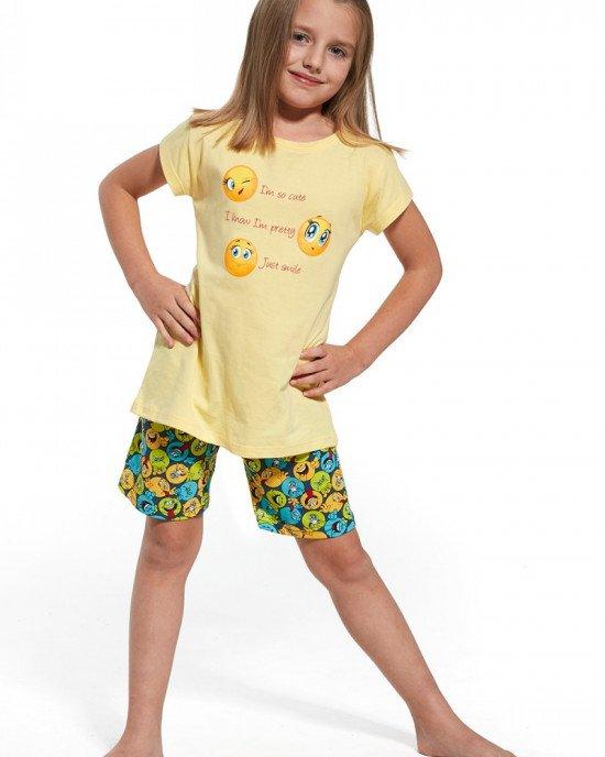 """Пижама (шорты + футболка) желтого цвета с рисунком и текстом """"Smile"""""""