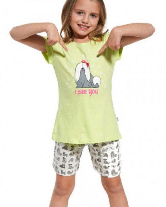 Пижама (футболка + шорты) ярко-зеленого цвета с принтом