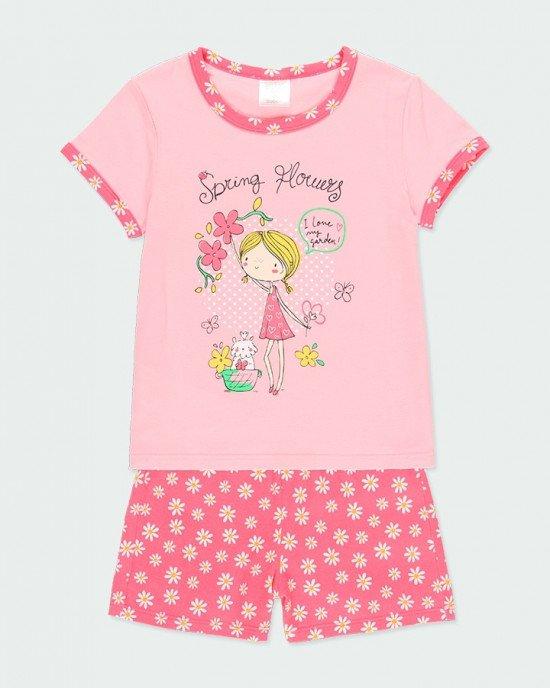Пижама (футболка + шорты) розового цвета в яркий, цветочный принт
