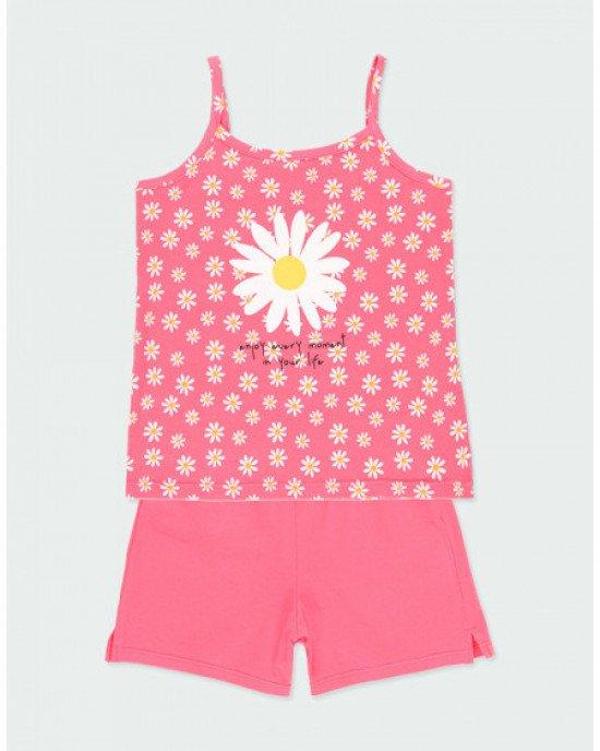 Пижама (шорты + майка) розового цвета в ромашковый принт