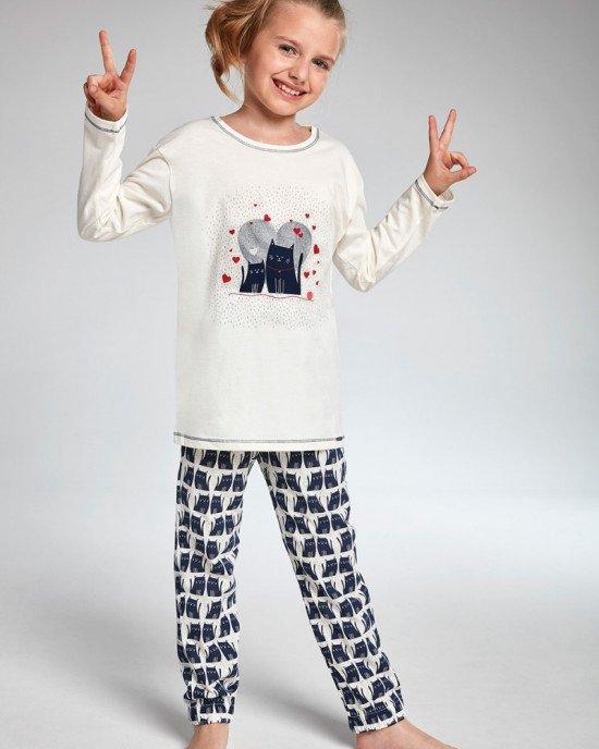 Пижама (реглан + брюки) кремового цвета в синий принт