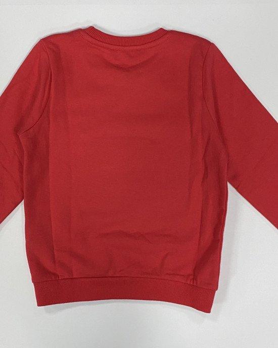 Свитшот утепленный красного цвета с аппликацией из пайеток