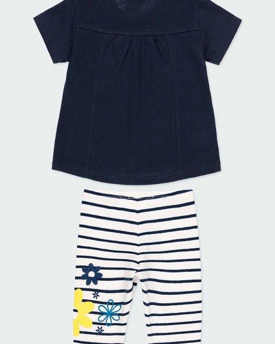 """Комплект (футболка + капри) синего цвета с """"пляжным"""" принтом"""