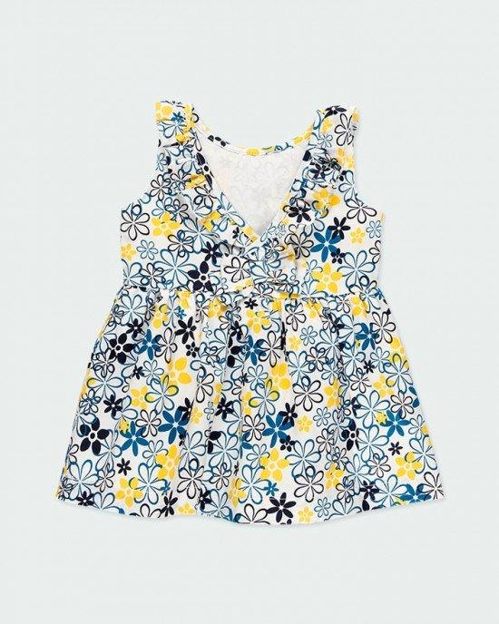 Платье Chic белого цвета с ярким желто-синим принтом