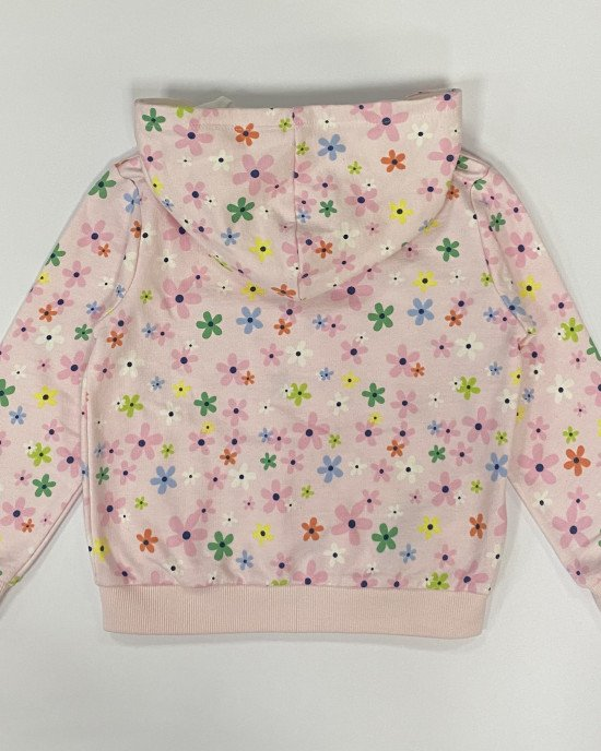 Кофточка с капюшоном розового цвета в цветочный принт