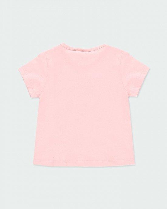 Футболка нежно-розового цвета с цветным принтом