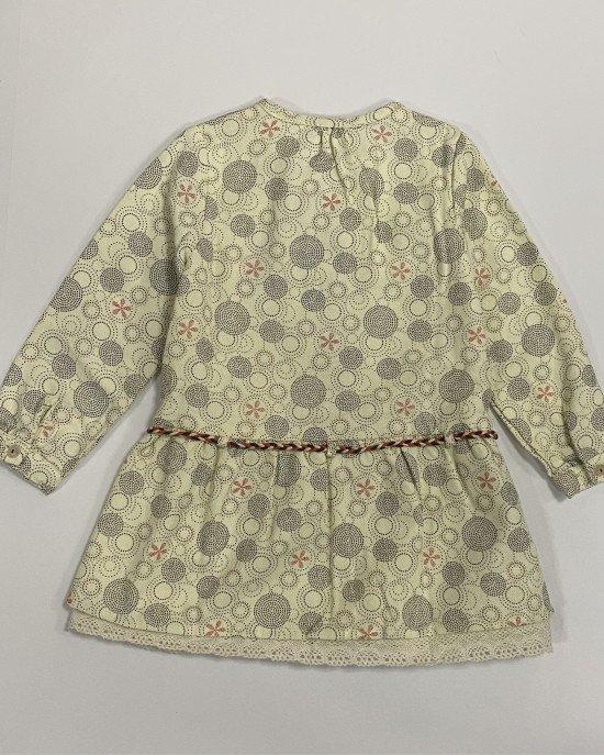 Платье бежевого цвета с длинным рукавом