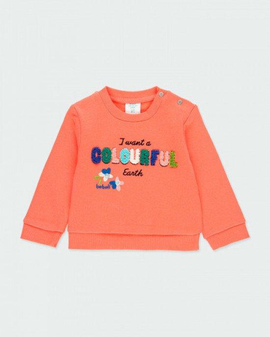 Свитшот утепленный оранжевого цвета с вышивкой
