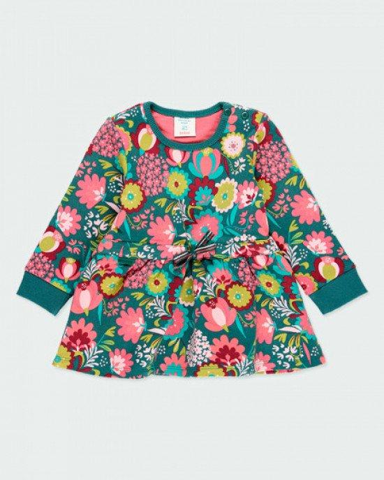 Платье утепленное в яркий, цветочный принт