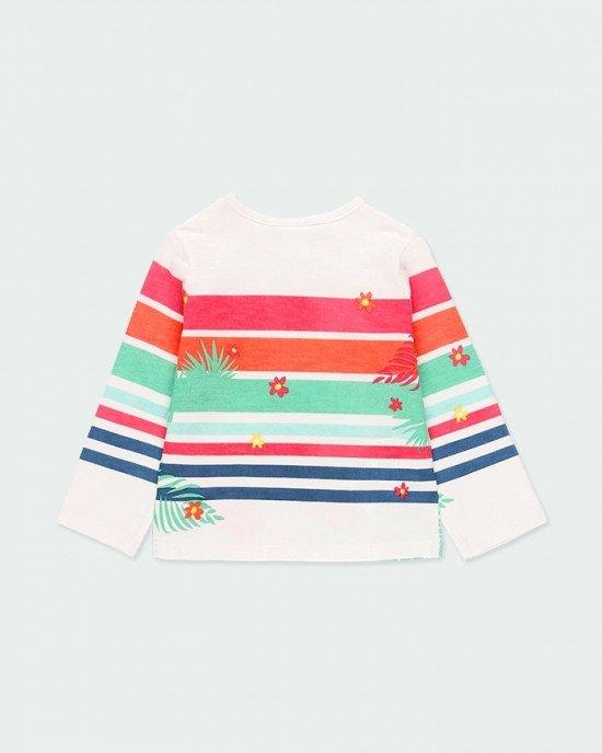 Лонгслив (футболка с длинными рукавами) белого цвета в цветной принт